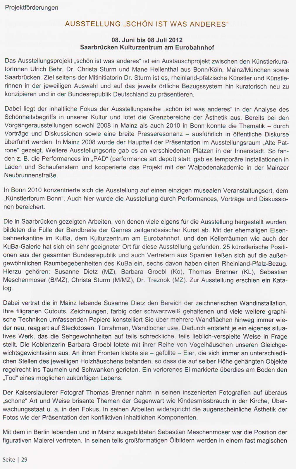 Projektförderung Stiftung Rheinland-Pfalz für Kultur 2012